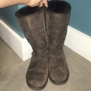 Tall Dark Brown Ugg Boots - Size 7